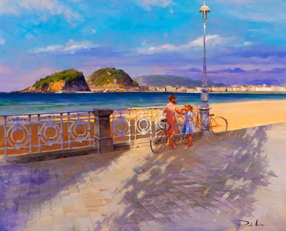 Cuadros modernos pinturas y dibujos paisajes de playas - Cuadros hechos con piedras de playa ...