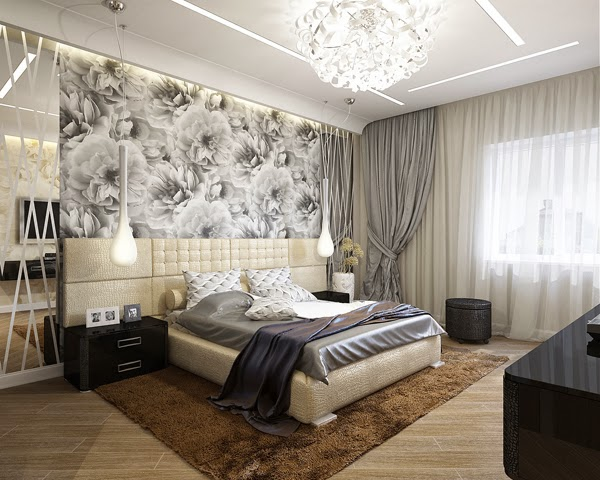 Bedroom glamor ideas gray bedroom with a floral pattern for Gray wallpaper bedroom