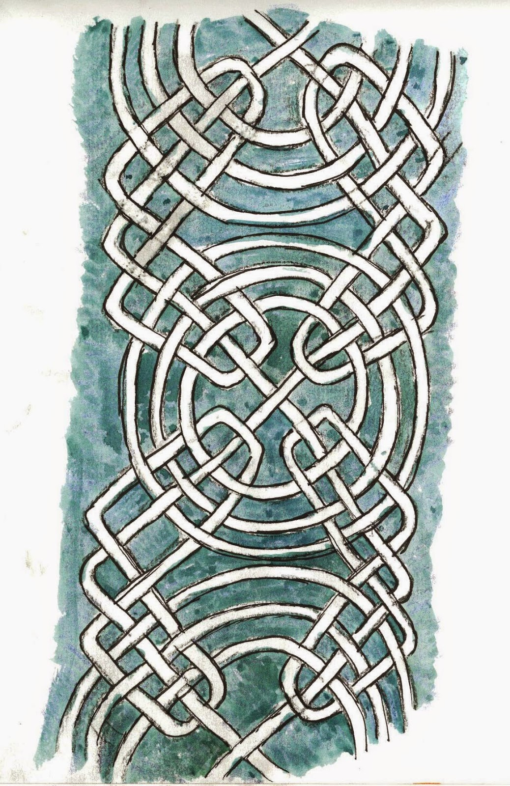 My pen and watercolour sketch of knotwork with concentric circles