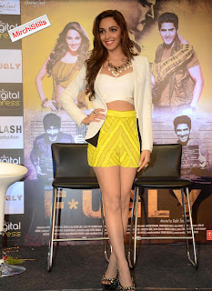 Kiara Adavani Promotes her Film Fugly in Some Lovely Neon COlor Shorts and Half Top Stunning Beauty Kiara Advani