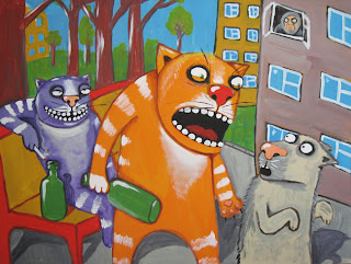 Evil cat-bully attacks timid dog, laughing, crying, alcoholic, bottle, cigarette, witness, drawings, funny pictures, comics