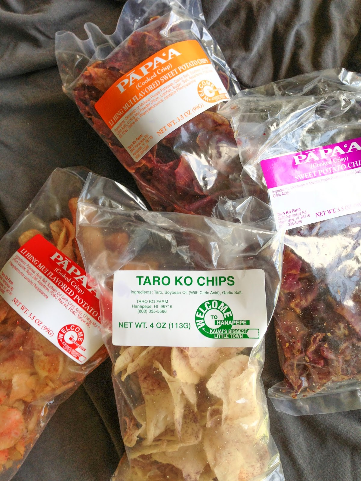 Taro Chips, Sweet Potato Chips, Li Hing Mui flavored potato chips, and Li Hing Mui flavored sweet potato chips