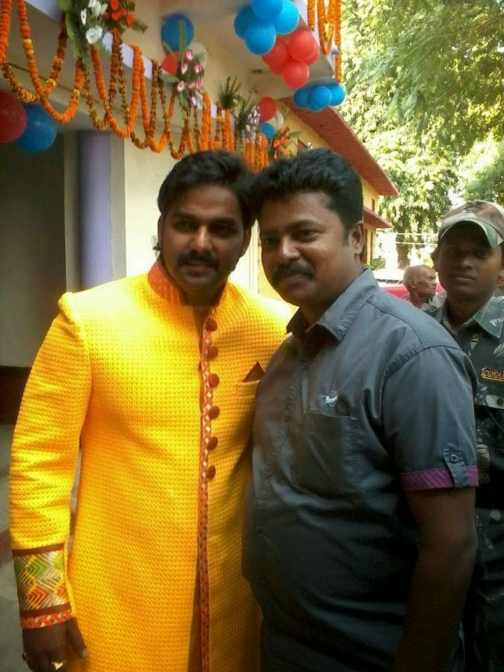 pawan singh with Brother at tilak Ceremony photo
