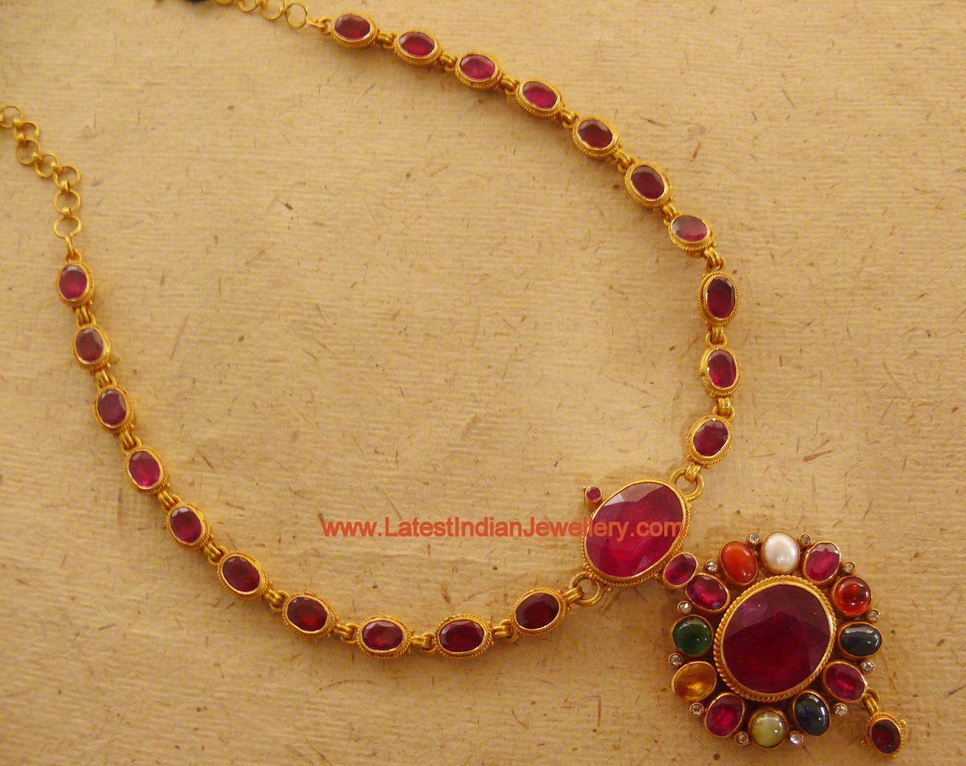 High Quality Pota Ruby Necklace With Navaratna Pendant