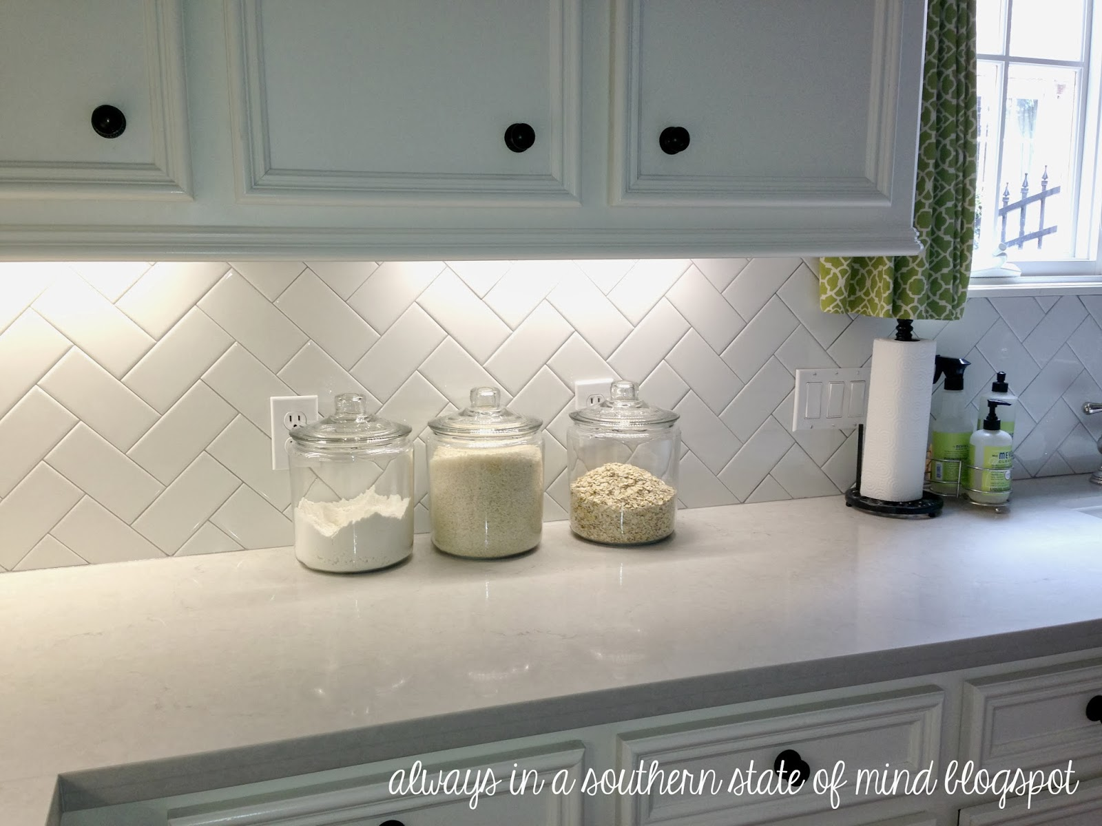 White Subway Tile Herringbone Backsplash