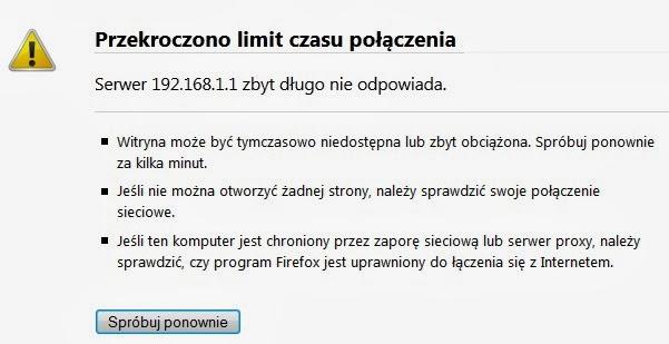 Informacja o przekroczeniu limitu czasu wczytywania strony dla FireFox
