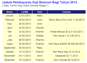 Jadual Pembayaran Gaji 2013