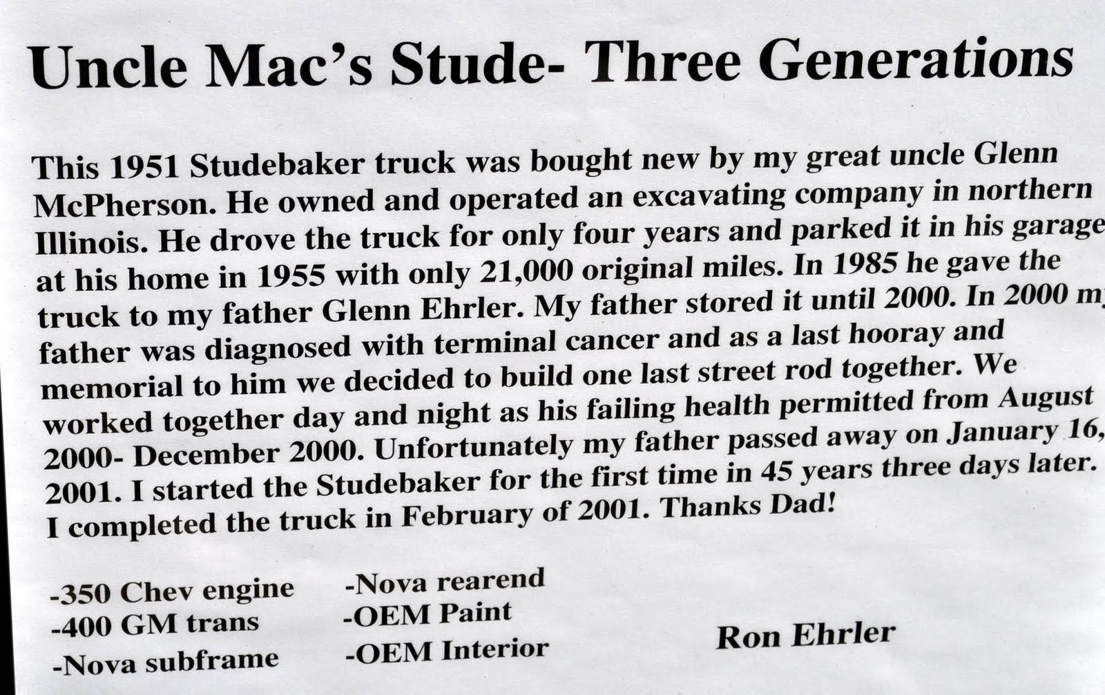 Uncle Mac's Studebaker Champ,