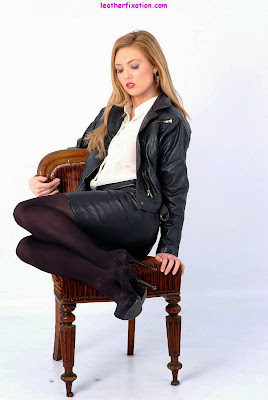 Smokin Hot Blonde Leather Skirt Jacket and Boots