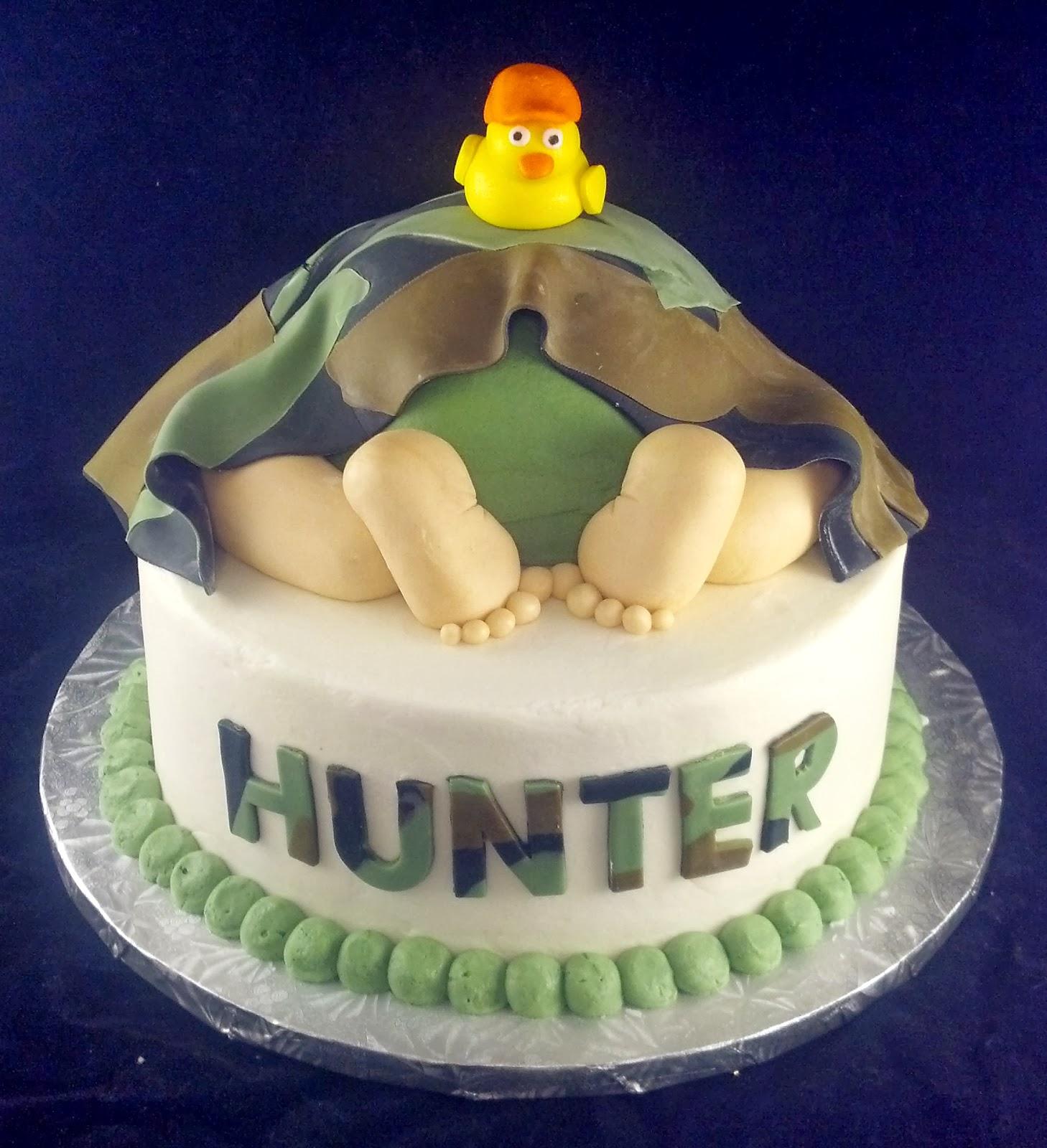 Delightful Hunter Baby Shower Cake