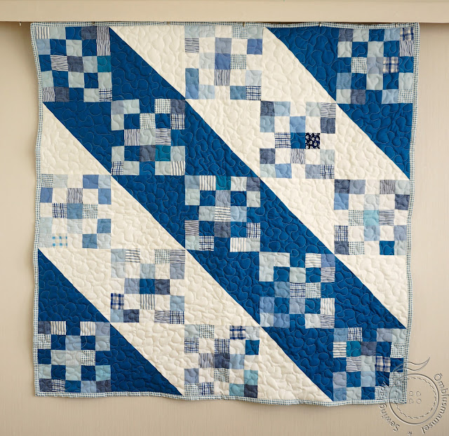 blue baby quilt, boys patchwork quilt
