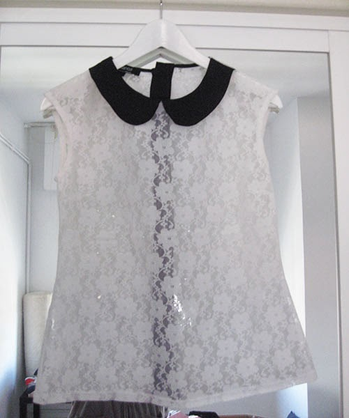Top Blanco transparencias, talla S