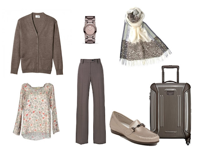 taupe travel outfit cardigan and pants with a floral blouse
