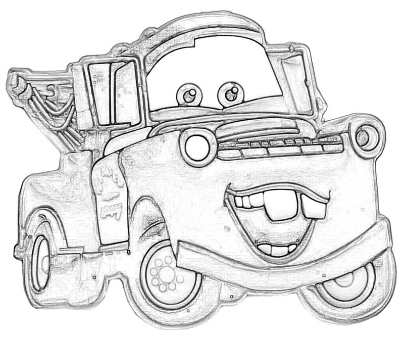 Mater free colouring pages for Coloring pages tow mater