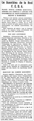 Recorte de Mundo Deportivo sobre la asamblea de la FEDA, 19 Julio de 1930