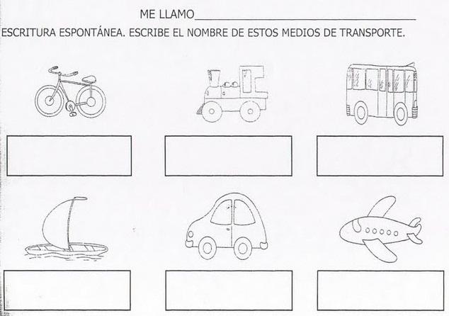 Actividades Escolares: actividades sobre medios de transportes