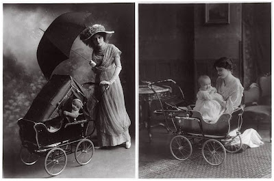 Woman, infant, umbrella, baby carriage, 1913 Jan. 27.
