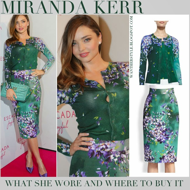 Miranda Kerr in green floral print cardigan with matching green floral print pencil skirt Escada Hyacinth july 29 2014 want her style