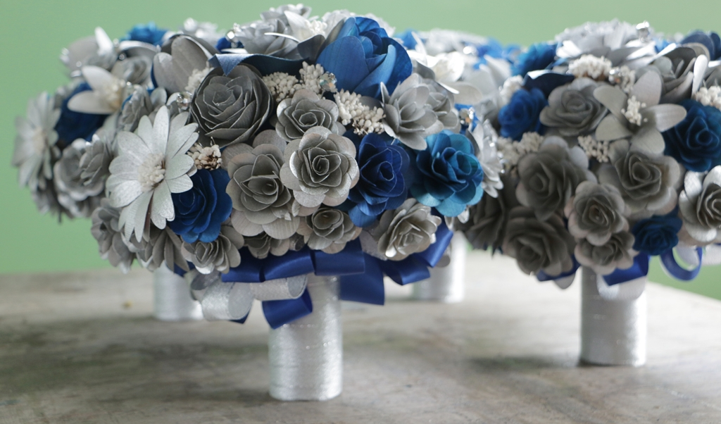 Silver and Blue Wedding Flowers Made of Wood, Cornhusk and Sola ...