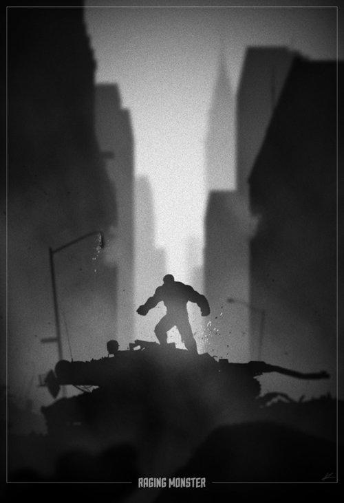 marko manev ilustração poster super heróis noir minimalista preto e branco hulk monstro furioso