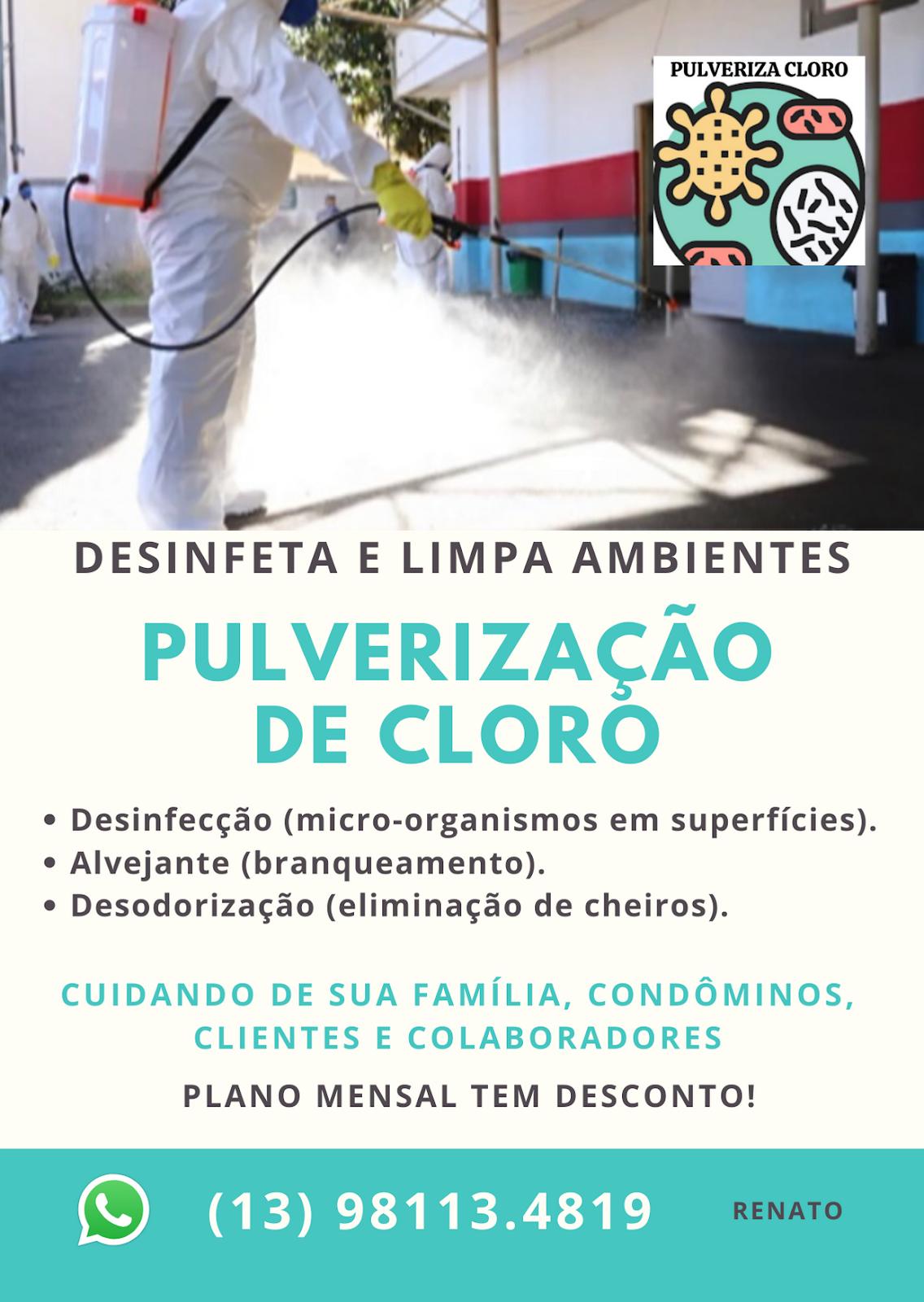 Pulverização de Cloro: Desinfeta e Limpa Ambientes