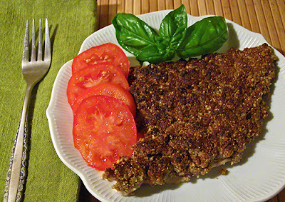 Dukkah Honey Crusted Fish served with Tomatoes, garnished with basil