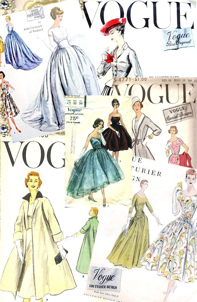 vintage Vogue sewing patterns 1950s