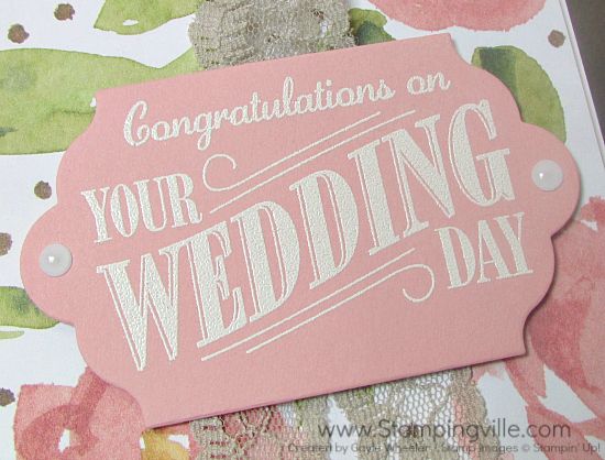Close-up photo image of Stampin' Up! Happy Notes wedding card die-cut sentiment panel.