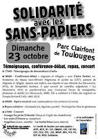Solidaritat amb la gent sense papers.  Diumenge 23 d'octubre al Parc Clerfont de Toluges.