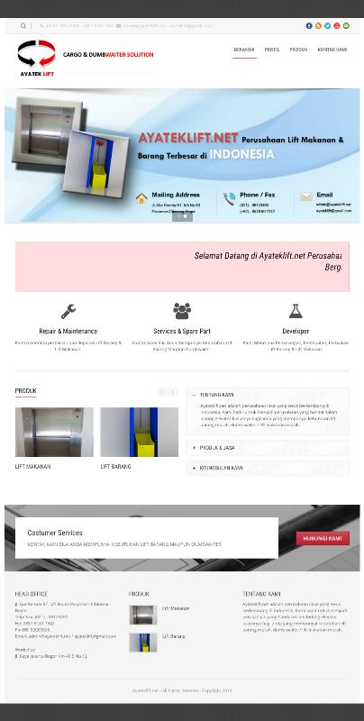 Website Pembuatan Lift Barang & Makanan Dumbwaiter.
