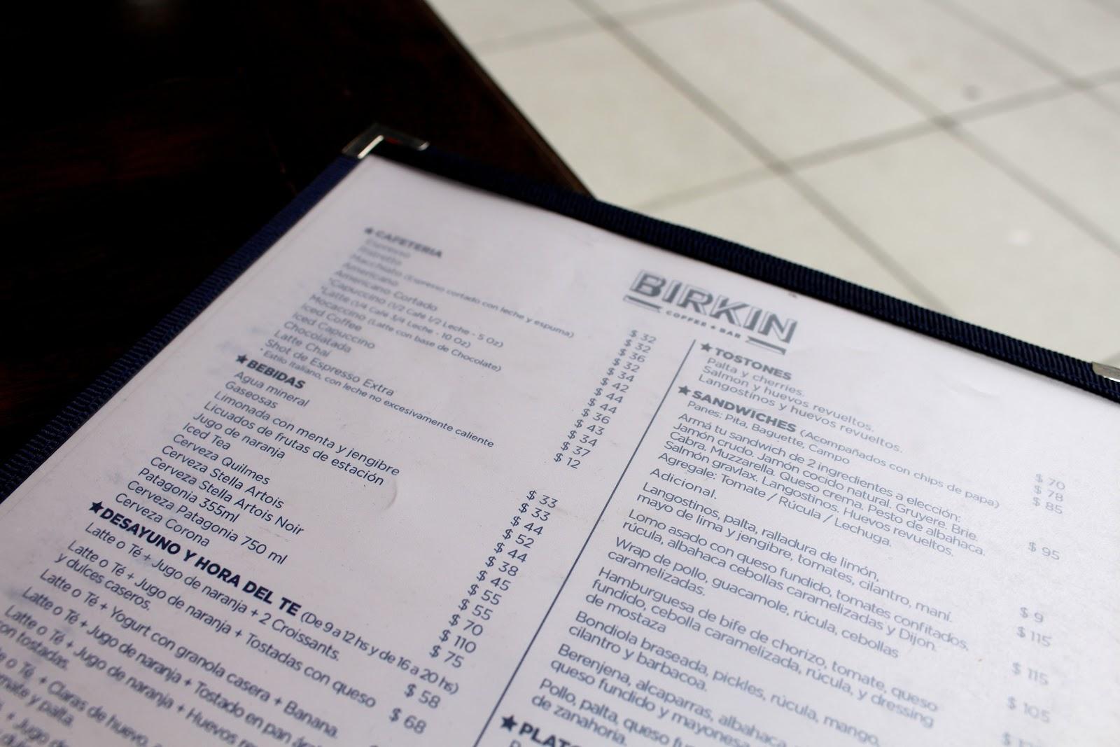 Birkin Café menu | Buenos Aires