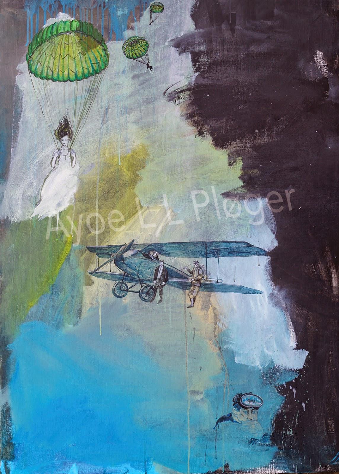 kunst, akryl maleri, moderne kunst, flyver, faldskærm, dykker, at turde, ayoe l l pløger