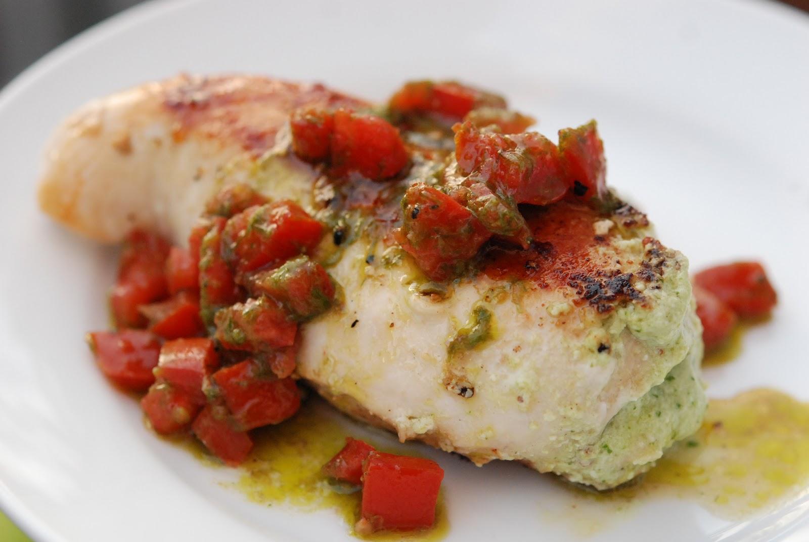 Basil Pesto and Ricotta Stuffed Chicken with a Tomato Vinaigrette ...