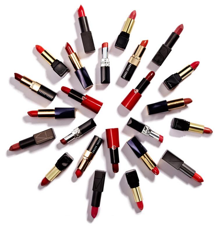 Lipstick wheel, red lipsticks, cosmetics, beauty