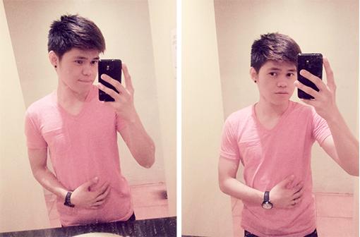bench, pink shirt