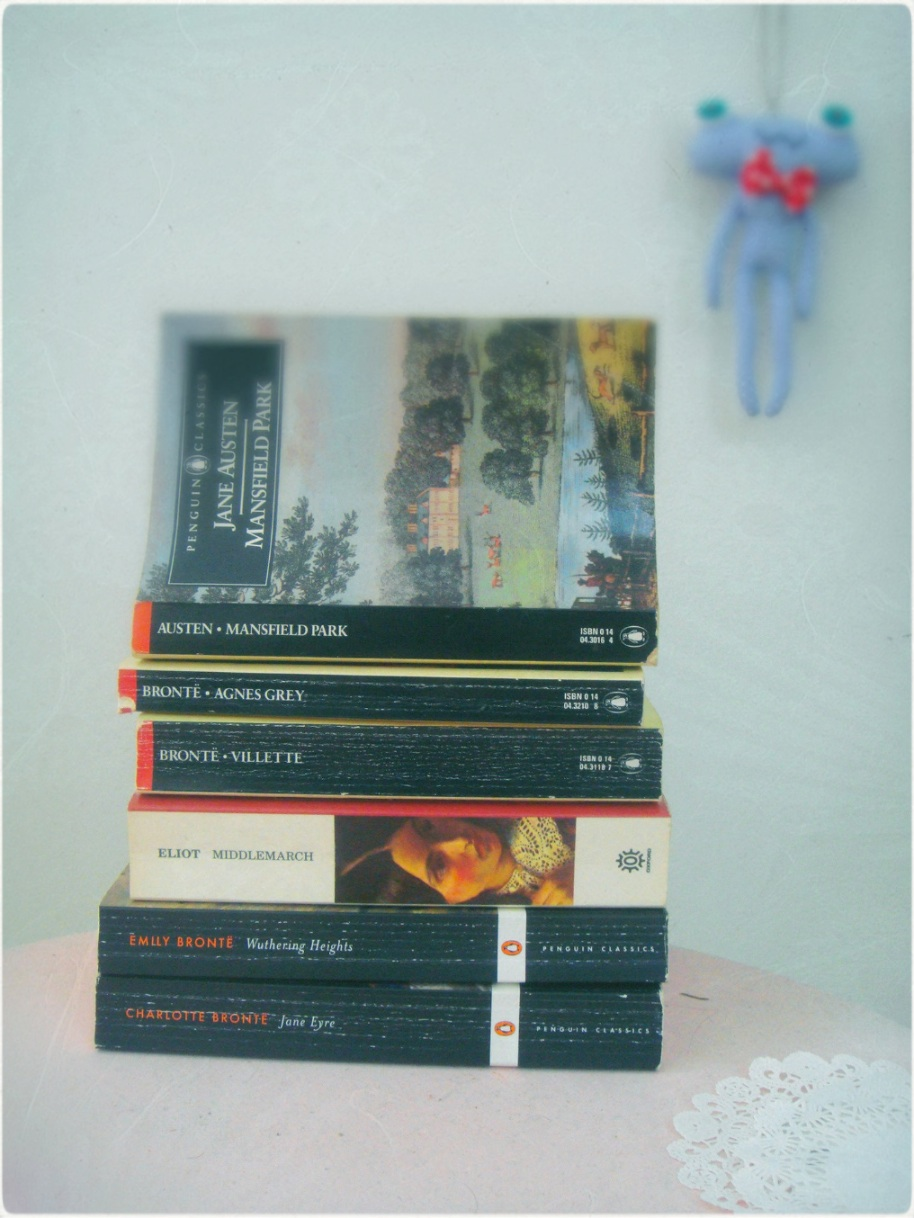 Books by the Bronte sisters, George Eliot, and Jane Austen