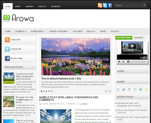 Arowa Blogger Theme