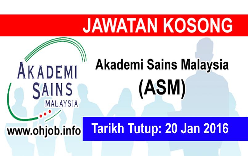 Jawatan Kerja Kosong Akademi Sains Malaysia (ASM) logo www.ohjob.info januari 2016