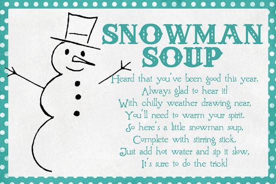 Declarative image with snowman soup printable