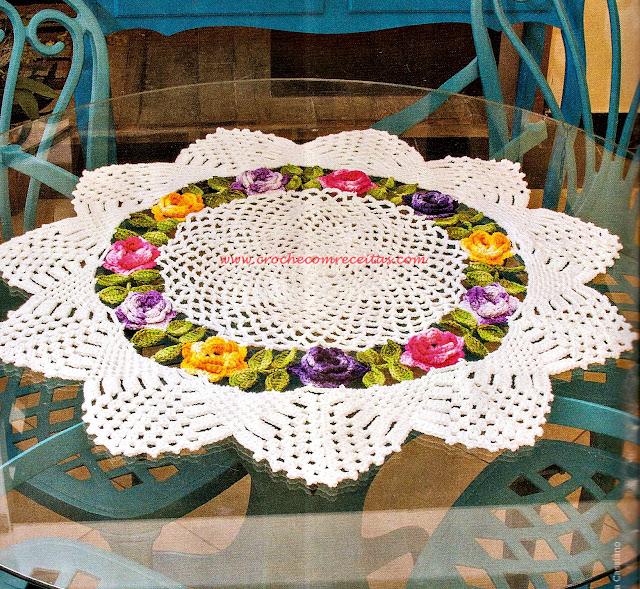 centro de mesa em croche floral com receitas e gráficos em croche com receitas