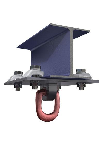 Пример применения типового решения для монтажа поворотного рыма с пластиной  для закладывания в него тросов, цепей, растяжек, блоков, талей, соединительных скоб и других крепёжных элементов.
