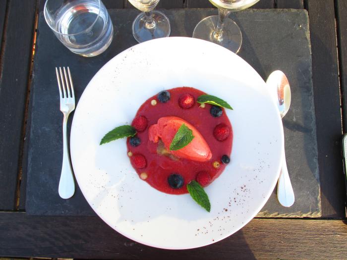 Yves Rocher Blogger Event - Desert im Restaurant Les Jardins Sauvages des La Gree des Landes Hotels