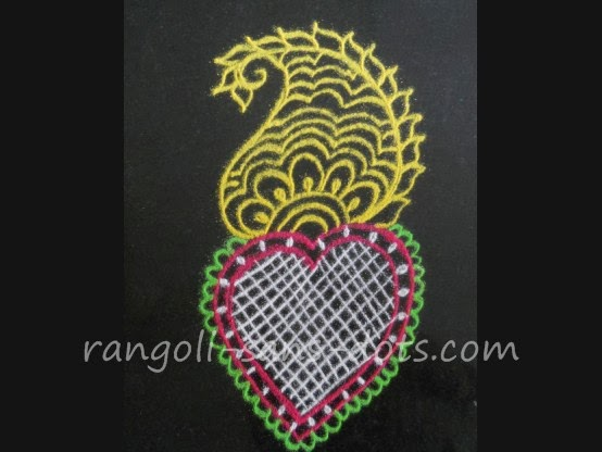 the first design is a very colourful mehandi rangoli design with ...