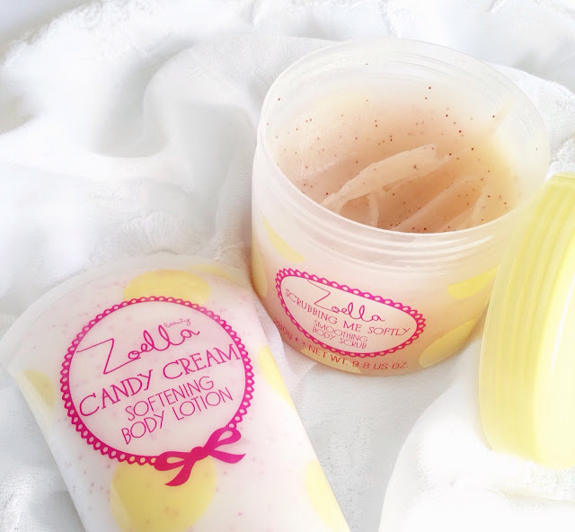Zoella beauty, tuttit fruity collection, candy cream softening body lotion, scrubbing me softly smoothing body scrub