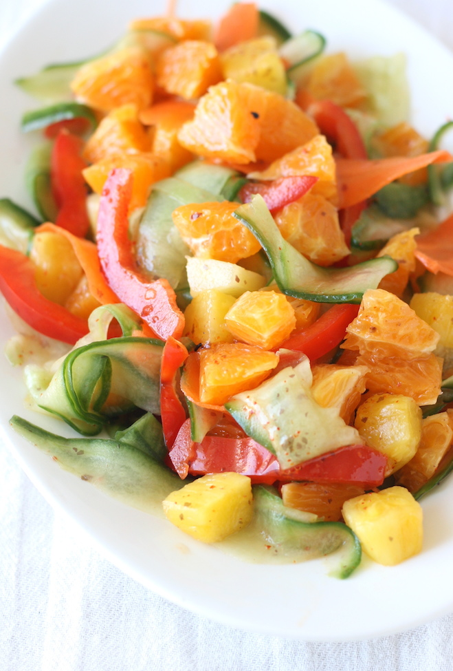 Orange and Pineapple Salad with Japanese Seven Spice Dressing by SeasonWithSpice.com