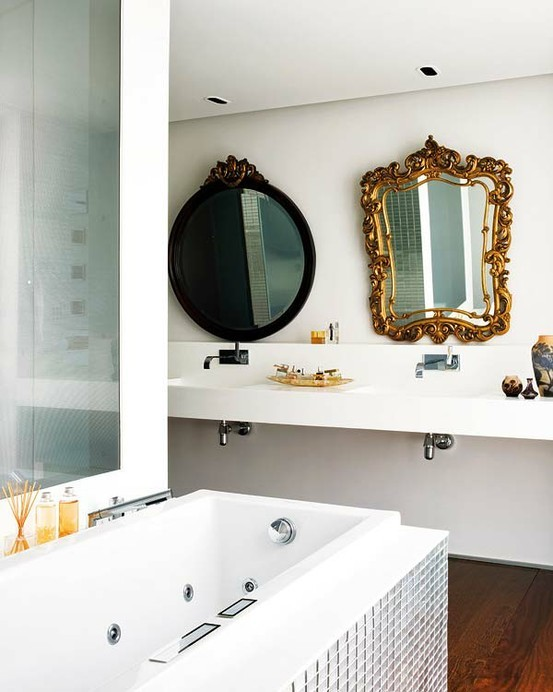 To da loos 7 dual sink vanity mirror style ideas for Different bathrooms