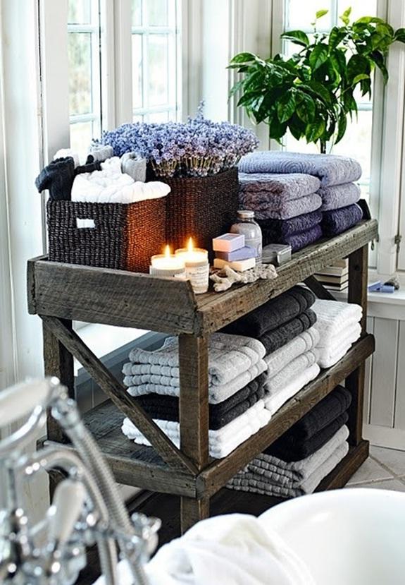 Estante De Baño Para Toallas: de madera para incluir velas, jabones, canastas, flores y toallas