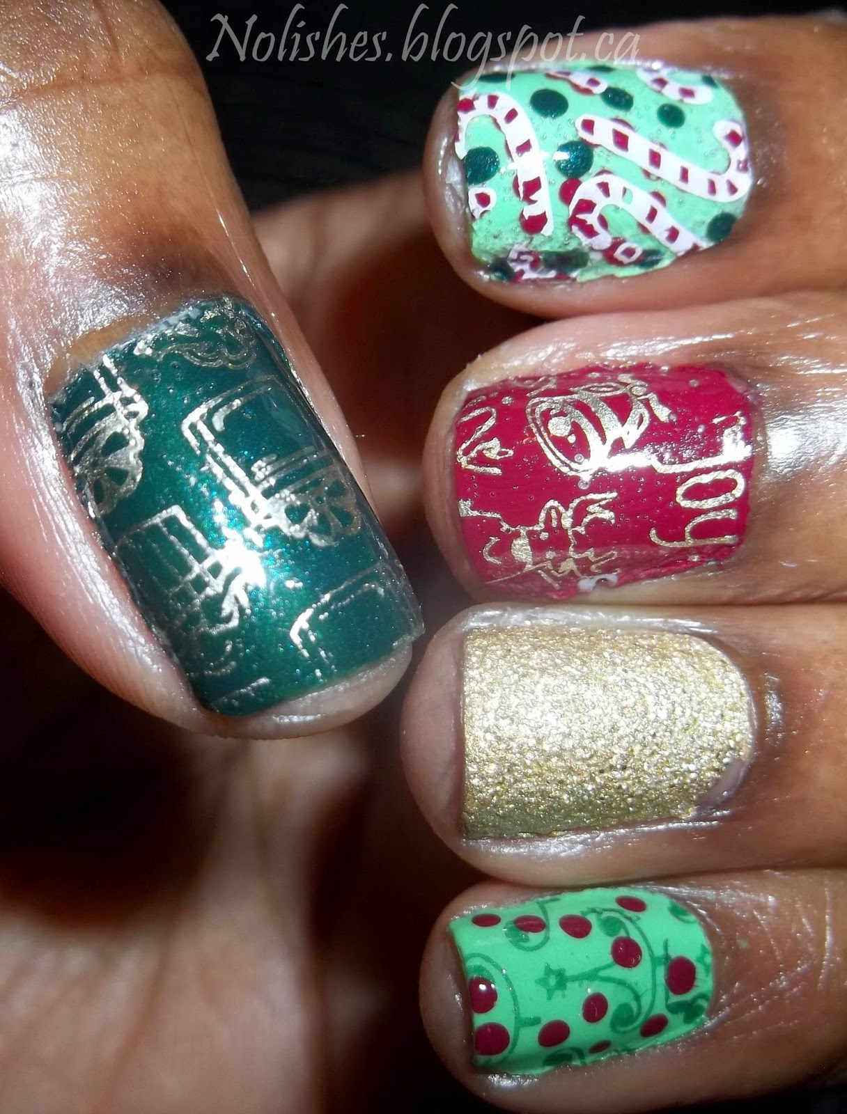 Christmas Themed Nail stamping manicure using light and dark green, red, gold, and white nail polishes. Stamped with images of presents, candy canes, bells, and trees.