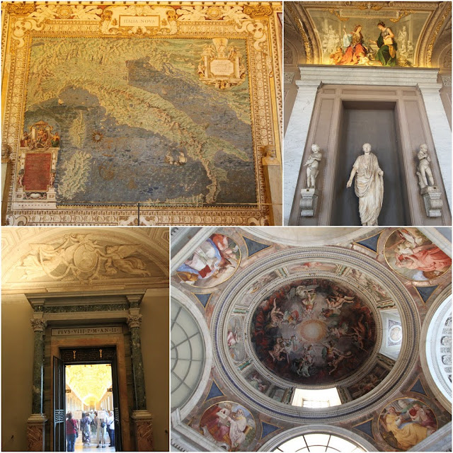 The old map of Italy in Galleria Delle Carte and the circular ceiling design in Pius V's Chapel in Musei Vaticani (Vatican Museum) in Vatican City, Rome, Italy