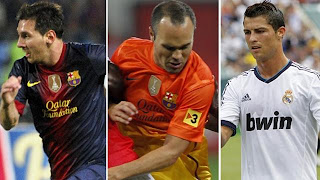 Messi, Ronaldo, Iniesta nominated for 2012 UEFA best player award